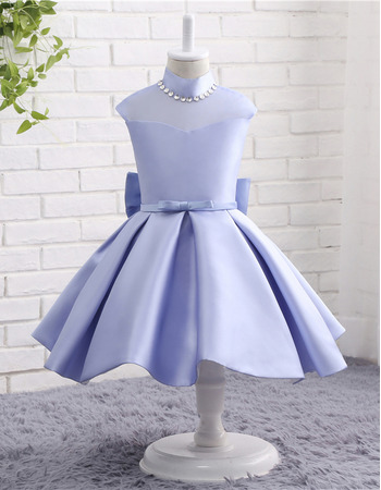 2018 Cute Baby Girl Knee Length Illusion Organza Back Satin Flower Girl Dresses with Bows and Crystal Detailing