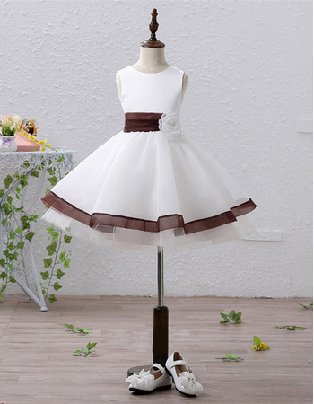 Inexpensive Simple A-Line Short Satin Flower Girl Dresses with Belts and Handmade Flowers