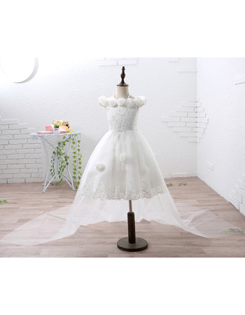 2018 Pretty 3D Flowers Off-the-shoulder Short Satin Tulle Flower Girl Dress with Detachable Train and Beaded Appliques