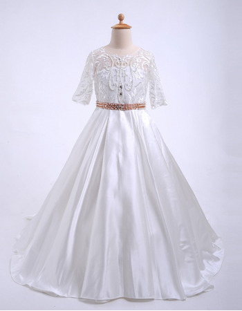 2018 Kids Discount Sweep Train Beaded Lace Satin Flower Girl Dresses with Half Sleeves and Open Back