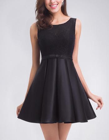 A-Line Sleeveless Short Satin Homecoming/ Little Black Dress
