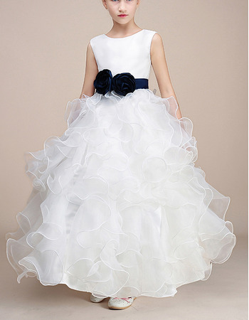 Pretty Ball Gown Ankle Length Satin Organza Flower Girl Dresses withwith Ruffles Galore and Flower Waistband