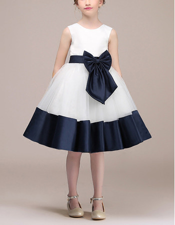 Simple A-Line Knee Length Satin Tulle Two Tone Flower Girl Dresses with Belts