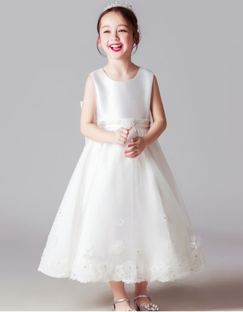 Pretty Sleeveless Tea Length Satin Little Girl First Communion Dresses with Beaded Applique