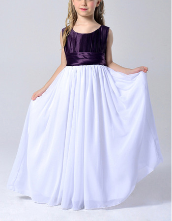 Custom Cute Sleeveless Floor Length ChiffonTwo Tone Ruched Flower Girl Dresses