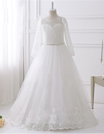Couture White Floor Length Lace Tulle Flower Girl Dresses with Long Sleeves and Crystal Detailing