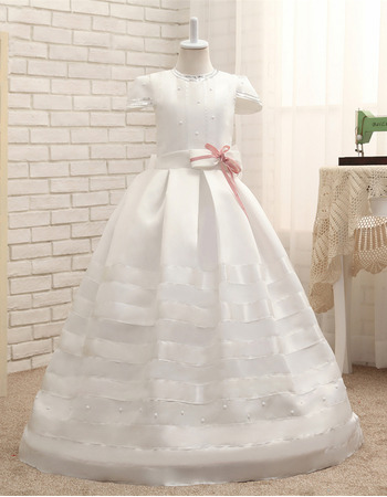 Discount Full Length Satin Flower Girl Dresses with Cap Sleeves and Bow/ First Communion Dresses
