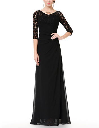 Custom Elegant Long Length Chiffon Black Mother of The Bride Dresses For Wedding with Half Lace Sleeves
