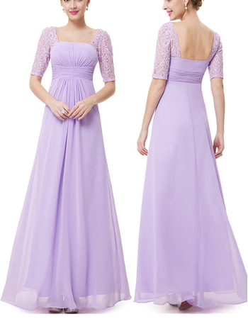 Sexy Square Neck Long Length Ruching Chiffon Mother Dresses with Half Lace Sleeves