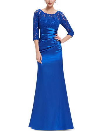Custom Elegant Floor Length Asymmetrical Pleated Satin Mother Dresses for Wedding Party with 3/4 Long Lace Sleeves