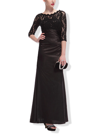 Custom Elegant Floor Length Asymmetrical Pleated Black Mother Dresses for Wedding Party with 3/4 Long Lace Sleeves