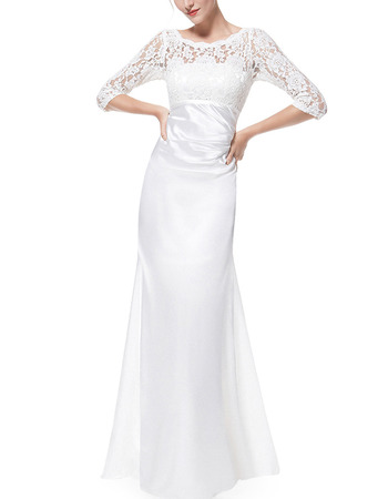 Custom Elegant Floor Length Asymmetrical Pleated Satin Mother Gowns for Wedding Party with 3/4 Long Lace Sleeves