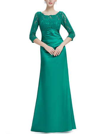 Couture Elegant Long Length Asymmetrical Pleated Satin Mother Gowns for Wedding Party with 3/4 Long Lace Sleeves