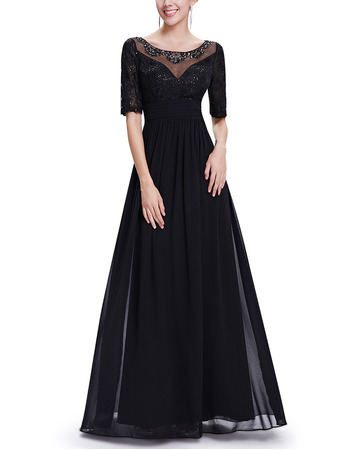 Stunning A-Line Illusion Neckline Floor Length Chiffon Mother Dresses for Wedding Party with Half Sleeves and Beaded