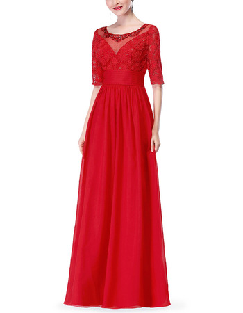 Fashionable Beaded Round Neck Floor Length Pleated Chiffon Mother Dresses for Wedding Party with Half Sleeves