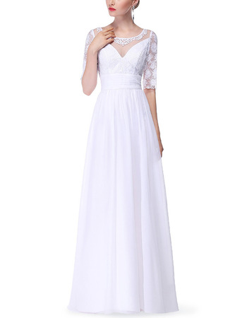 Fashionable Illusion Neckline Long Length Pleated Chiffon Mother Dresses for Wedding Party with Half Lace Sleeves