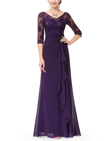 Elegant Asymmetrical Pleated Long Length Chiffon Mother Dresses for Wedding Party with Half Lace Sleeves & Front Ruffles