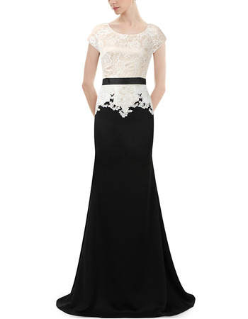Couture Stunning Floor Length Chiffon and Lace Two Toned Mother of the Bride Dress with Short Sleeves