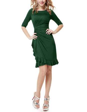 Discount Sheath Mini/ Short Asymmetrical Pleated Satin Mother of the Bride Dress with Half Sleeves