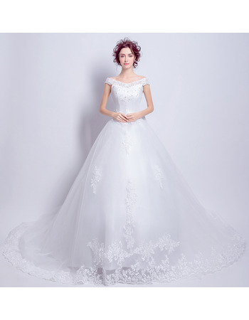 Exquisite and Romantic Off-the-shoulder Cathedral Train Beaded Appliques Tulle Wedding Dresses