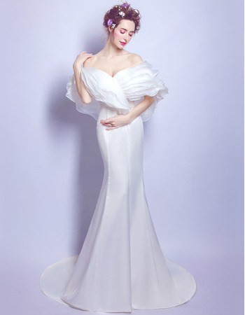 Fashionable and Unique Sheath Off-the-shoulder Sweep Train Organza Satin Wedding Dresses