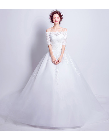 Elegant Off-the-shoulder Chapel Train Beaded Appliques Tulle Satin Wedding Dress with Half Sleeves