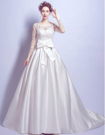 Delicate New Style Chapel Train Beaded Appliques Satin Wedding Dresses with Long Tulle Sleeves