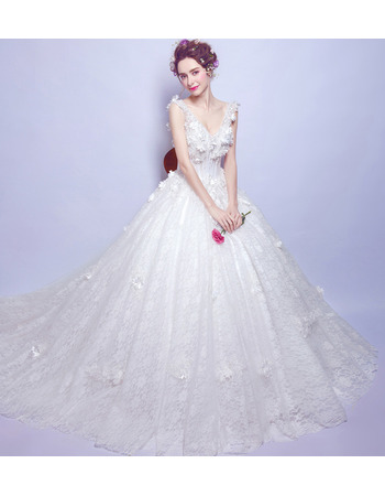 Feminine Romantic Deep V-Neck Sleeveless Chapel Train Lace Wedding Dresses with Petal Detailing