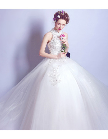 Sexy & Graceful Beading Appliques Ball Gown High Neck Tulle Wedding Dress with Keyhole