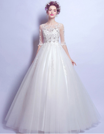 Attractive Crystal Appliques Ball Gown Tulle Wedding Dresses with Half Sleeves