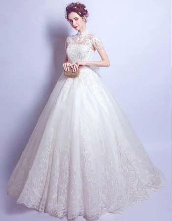 Junoesque Dramatic Mandarin Collar Full Length Wedding Dresses with Short Sleeves and Beaded Appliques