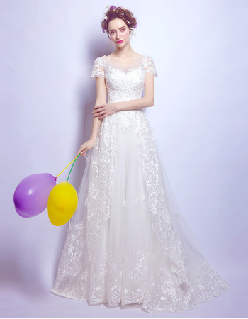 Junoesque Romantic Sweep Train Beaded Tulle Wedding Dresses with Short Sleeves and Lace Appliques