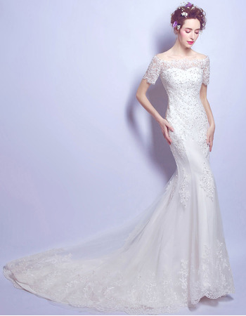 Shimmering Exquisite Off-the-shoulder Sweep Train Wedding Dresses with Short Sleeves and Luxury Beaded Appliques