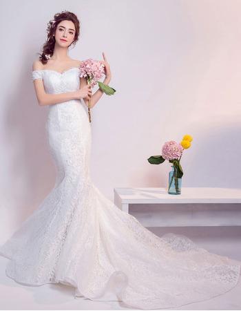 Understated Elegant Mermaid Off-the-shoulder Court Train Lace Wedding Dresses