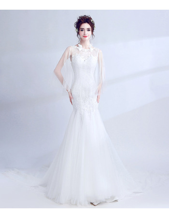 Modern and Romantic Mermaid Wedding Dress with Tulle Shawl and Lace Appliques
