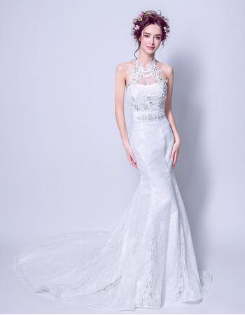 Ultra-feminine Mermaid Halter Sleeveless Sweep Train Beaded Lace Wedding Dresses