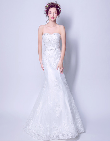 Elegance Beaded Appliques Mermaid Sweetheart Full Length Organza Wedding Dresses