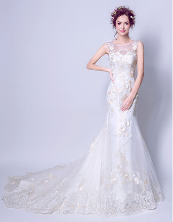 Romantic Sheath Court Train Satin Organza Applique Beaded Wedding Dresses with Hand-made Flowers