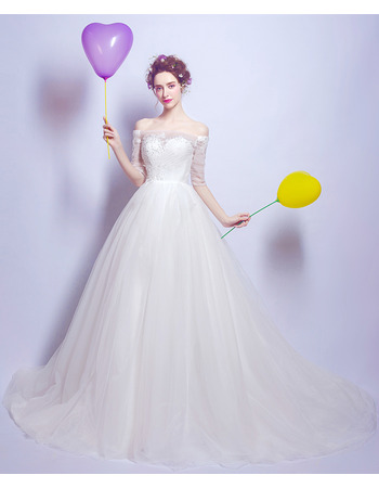 Affordable Off-the-shoulder Chapel Train Beaded Tulle Wedding Dresses with Half Sleeves