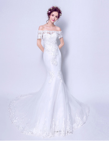 Sexy Beaded Appliques Off-the-shoulder Tulle Wedding Dress with Short Sleeves