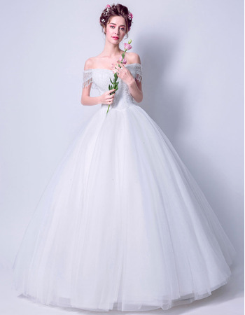 Stunning Ball Gown Off-the-shoulder Tulle Wedding Dresses with Beaded Fringe