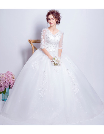 Junoesque Ball Gown Full Length Wedding Dresses with Half Sleeves and Crystal Detailing