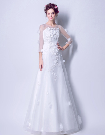 Modern and Romantic A-Line Full Length Wedding Dresses with 3/4 Long Sleeves and Hand-made Flowers