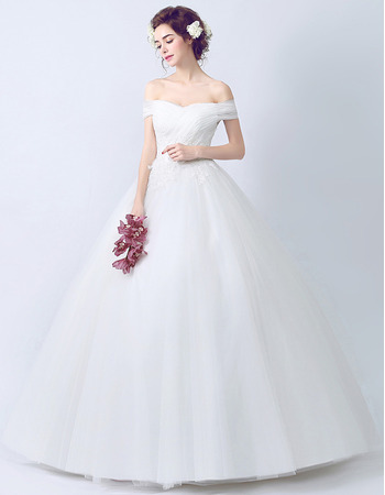 Perfect Ball Gown Off-the-shoulder Tulle Wedding Dresses with Appliques Bodice