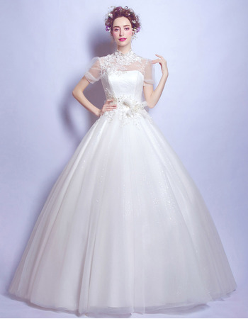 Classic Ball Gown Mandarin Collar Wedding Dresses with Short Sleeves ...
