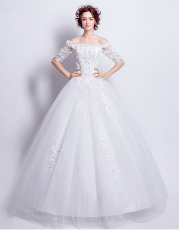 Classic Ball Gown Off-the-shoulder Wedding Dresses with Half Sleeves