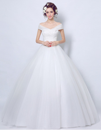 Elegance Ball Gown Off-the-shoulder Floor Length Lace Tulle Wedding Dresses