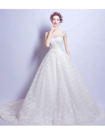 Glamorous Court Train Lace Wedding Dresses with Beaded Crystal Detail