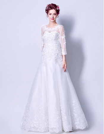 Elegantly Beaded Appliques Full Length Tulle Wedding Dress with 3/4 Long Sleeves