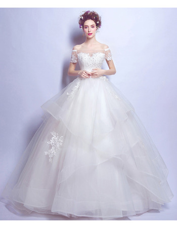 Gorgeous Beaded Appliques Ball Gown Tulle Wedding Dresses with Layered Skirt